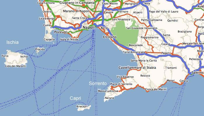 Costiera Amalfitana Cartina Stradale.Penisola Sorrentina Mappe E Sentieri